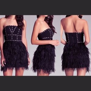 Bebe Strapless Studded Feather Dress Size:XS